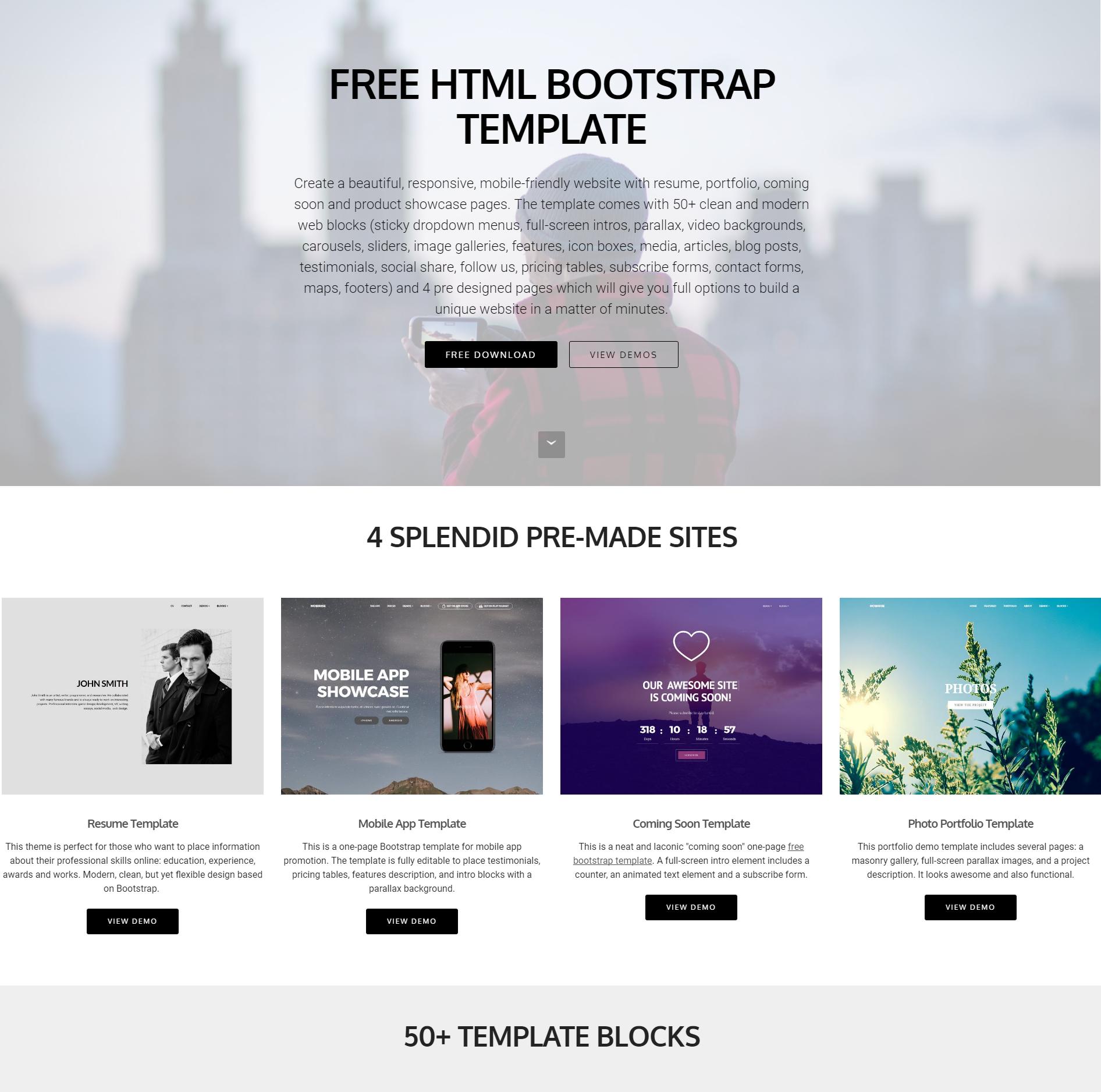 HTML Bootstrap 4 Blocks Templates