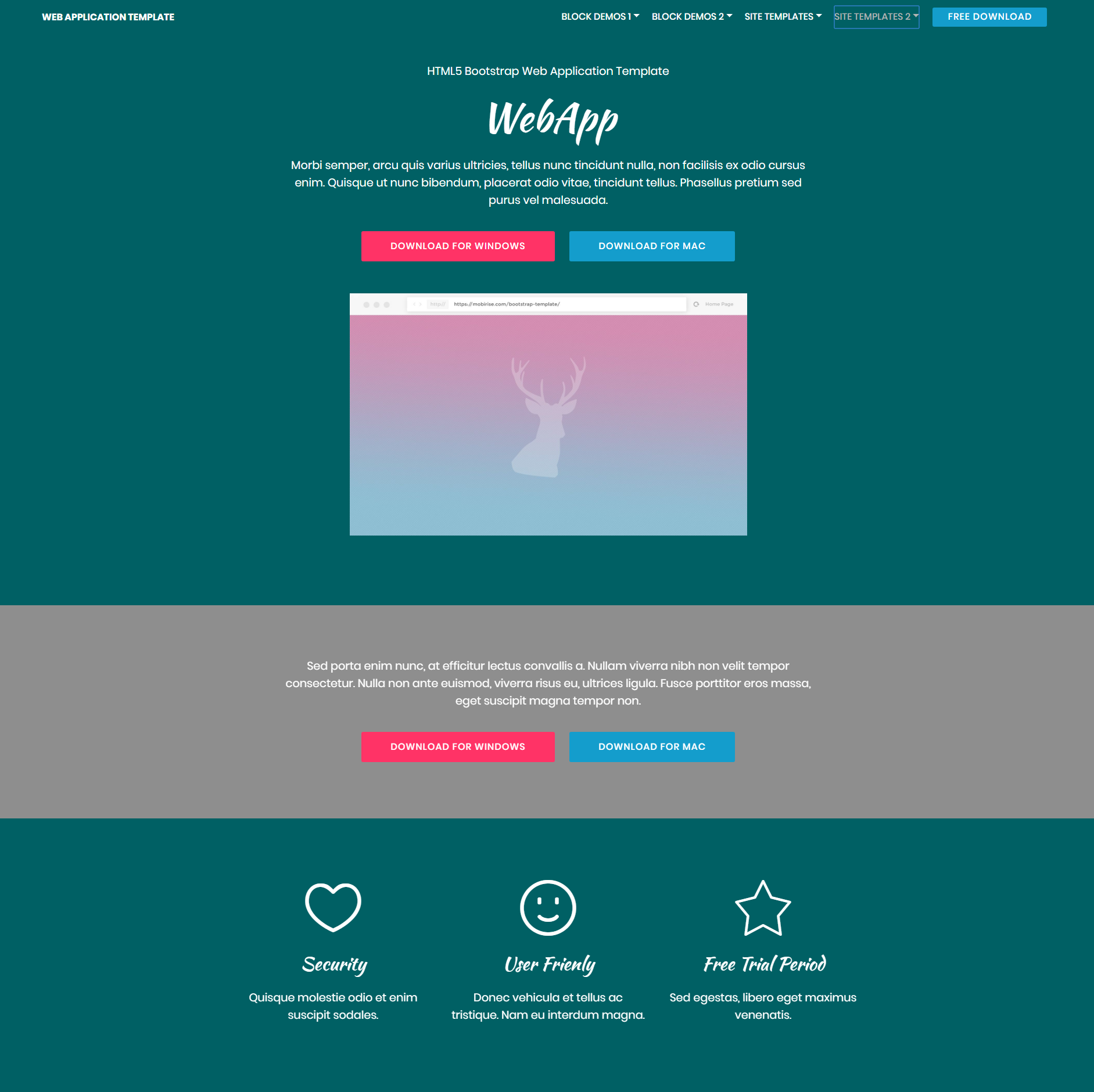 Responsive Bootstrap Web Application Themes